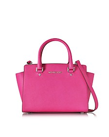 Selma Raspberry Saffiano Leather Medium Top Zip Satchel Bag - Michael Kors