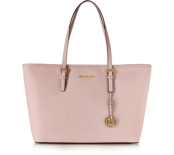 Jet Set Travel Blossom Pink Saffiamo Leather Medium TZ MultiFunction Tote - Michael Kors