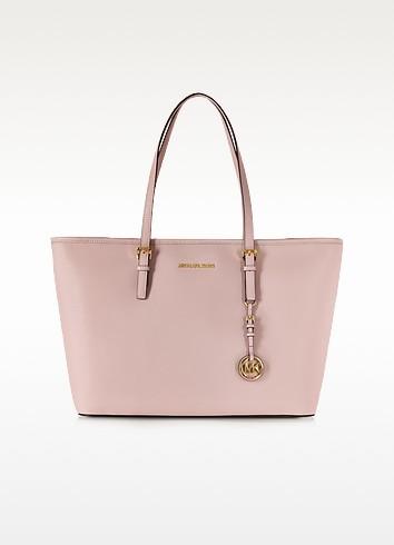 Jet Set Travel Blossom Pink Saffiamo Leather Medium TZ MultiFunction Tote - Michael Kors
