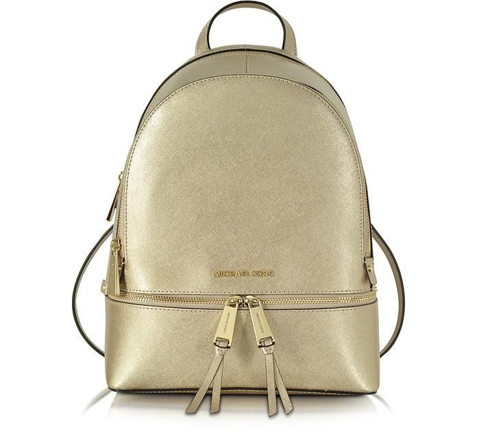 Rhea Zip Pale Gold Medium Backpack - Michael Kors