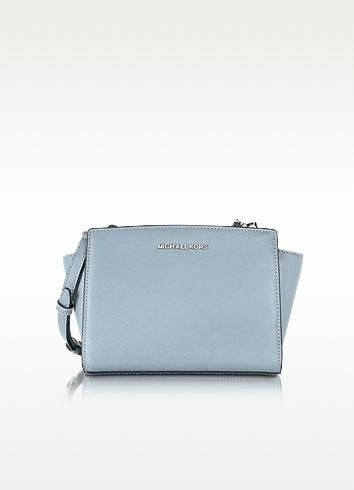 Selma Dusty Blue Saffiano Leather Mini Messenger - Michael Kors