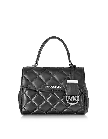 Ava Black Quilted Leather XS Crossbody