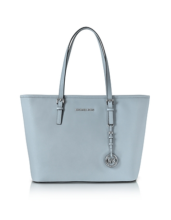 Michael Kors Jet Set Travel - Cabas en Cuir Saffiano Bleu Clair