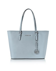 Jet Set Travel Dusty Blue Saffiano Leather Top-Zip Tote - Michael Kors
