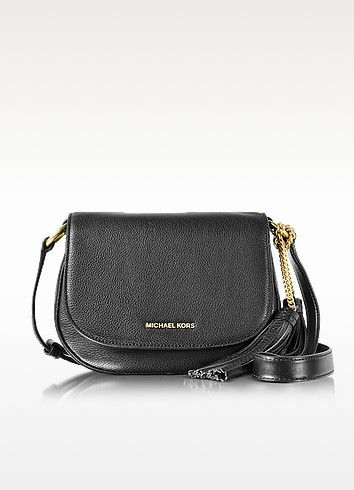 Elyse Medium Black Leather Saddle Bag - Michael Kors