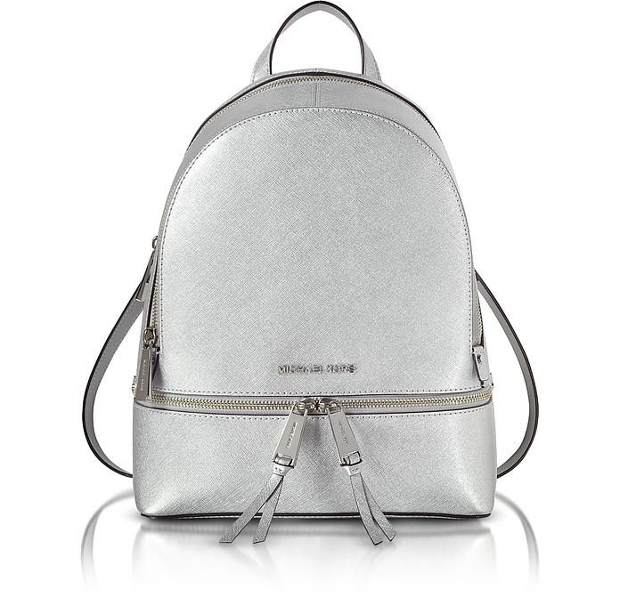 Rhea Zip Silver Medium Backpack - Michael Kors