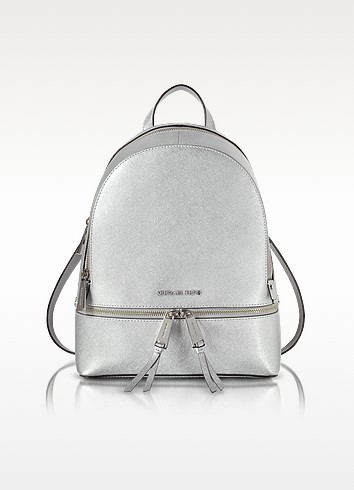 Rhea Zip Silver Medium Backpack - Michael Kors