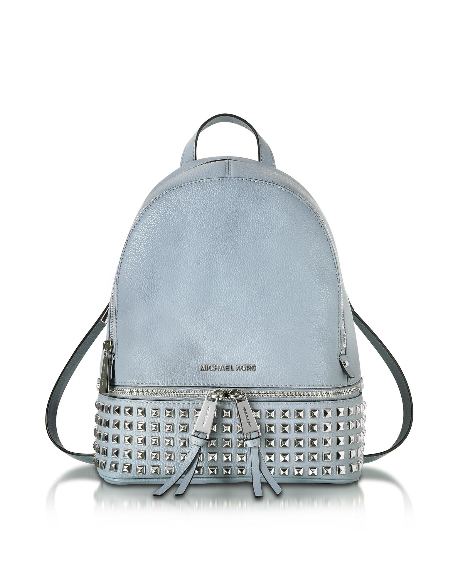 Rhea - Светло-синий Кожаный Рюкзак Среднего Размера с Заклепками Пирамидками