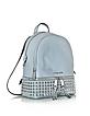Rhea Zip Dusty Blue Leather Medium Backpack w/ Pyramid Studs - Michael Kors