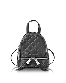 Rhea Zip X-Small Black Quilted Leather Messenger Backpack - Michael Kors