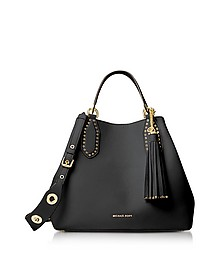 Brooklyn Large Black Pebbled Leather Tote - Michael Kors