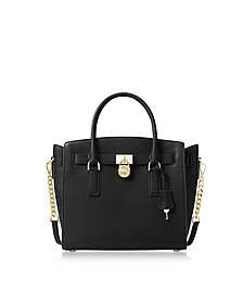 Hamilton Large Black Pebbled Leather Satchel Bag - Michael Kors