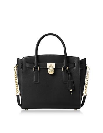 Hamilton Large Black Pebbled Leather Satchel Bag