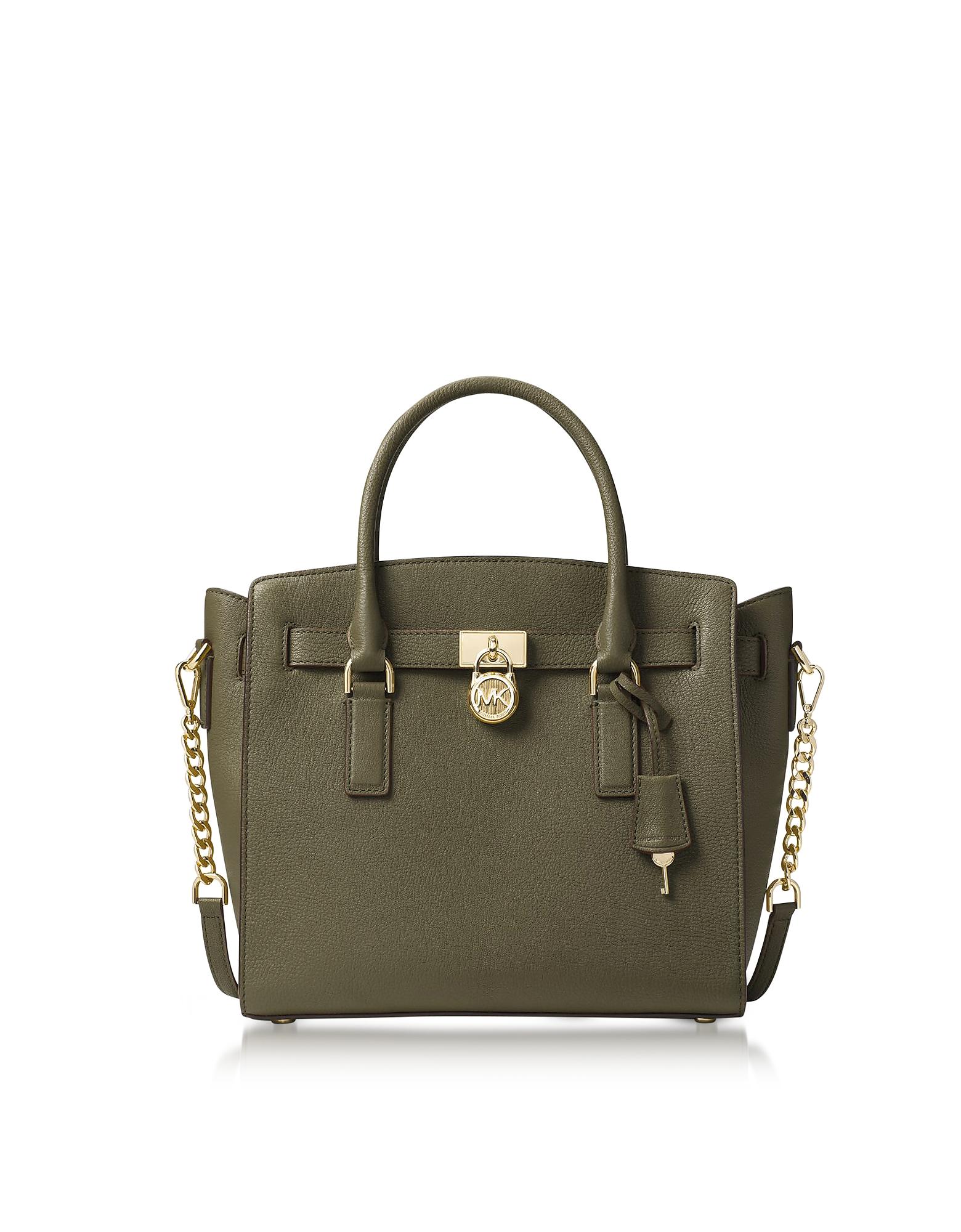Michael Kors Handbags, Hamilton Large Olive Green Pebbled Leather Satchel Bag