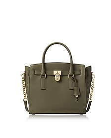 Hamilton Large Olive Green Pebbled Leather Satchel Bag - Michael Kors