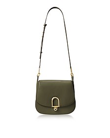 Delfina Large Olive Green Leather Saddle Bag - Michael Kors