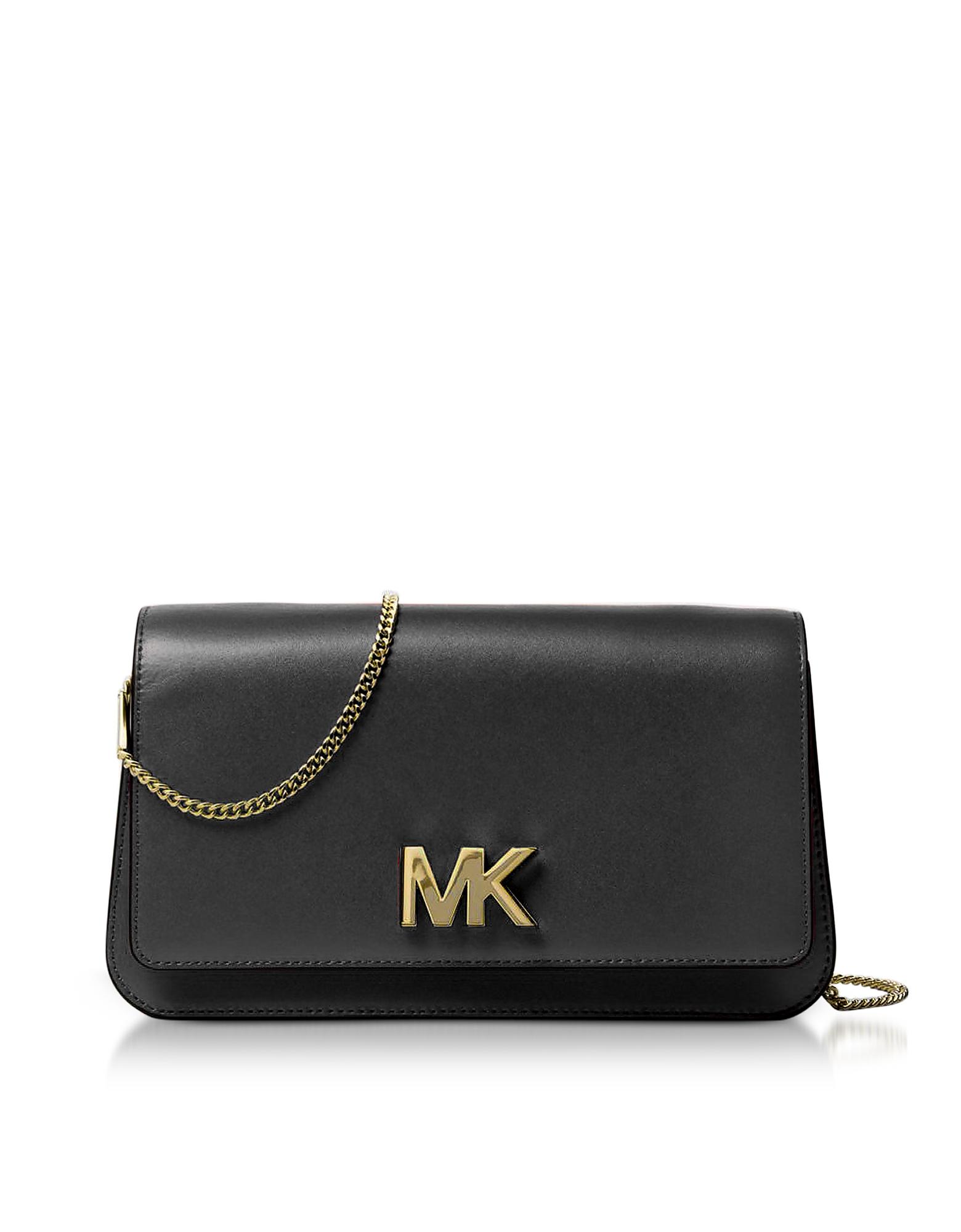 Michael Kors Handbags, Mott Large Black Leather Clutch