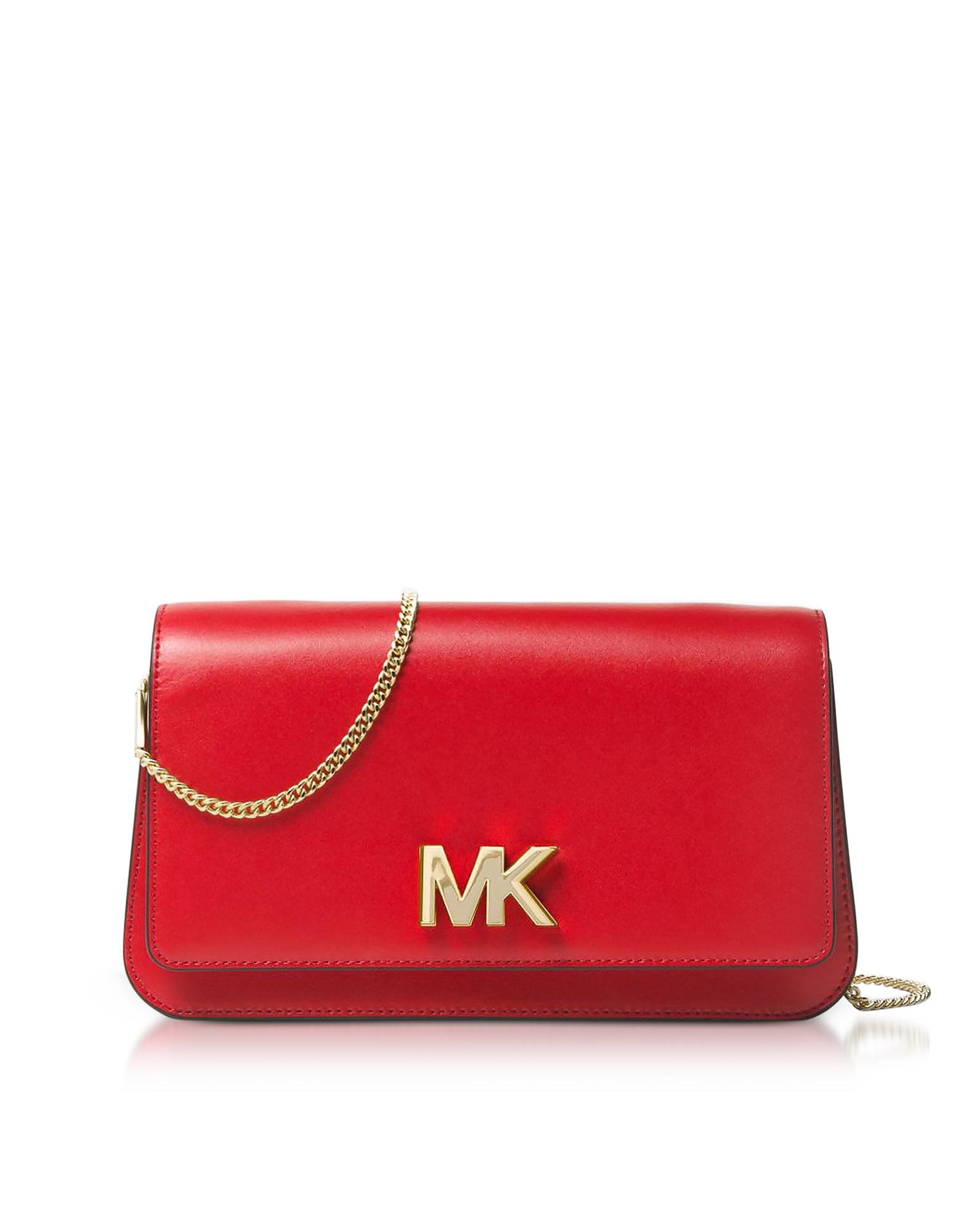 Michael Kors Handbags, Mott Large Bright Red Leather Clutch