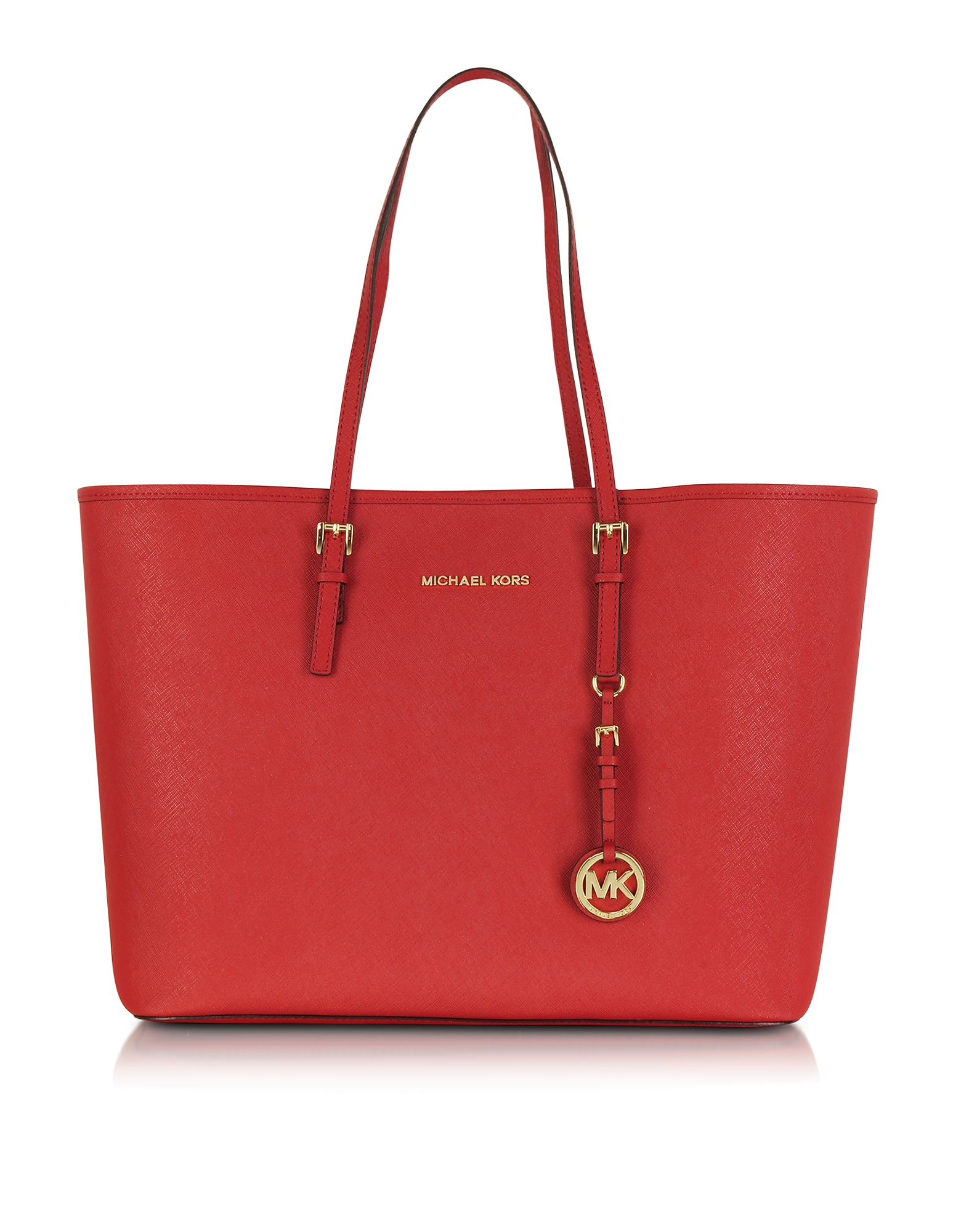 Michael Kors Handbags, Jet Set Travel Medium Bright Red Saffiano Leather Top-Zip Tote