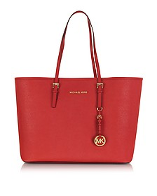 Jet Set Travel Medium Bright Red Saffiano Leather Top-Zip Tote - Michael Kors