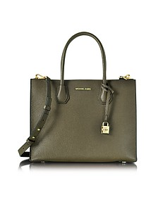 Mercer Large Convertible Olive Green Bonded-Leather Tote - Michael Kors