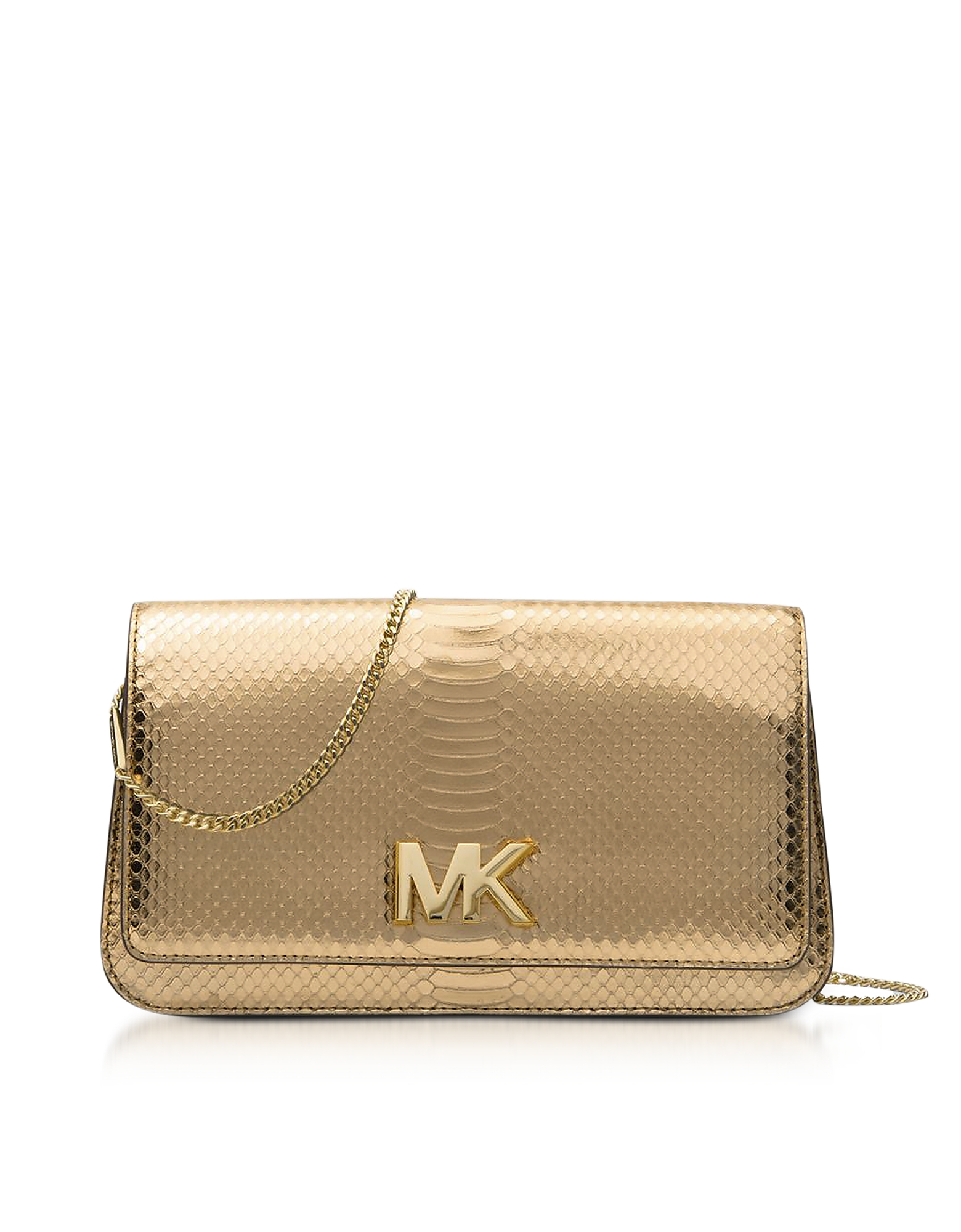 Michael Kors Handbags, Mott Large Pale Gold Metallic Ayers Embossed Leather Clutch