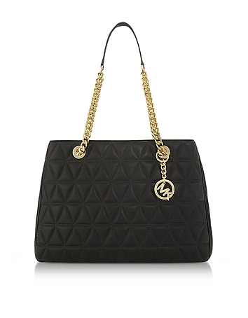 Scarlett Large Black Quilted Leather Tote Bag