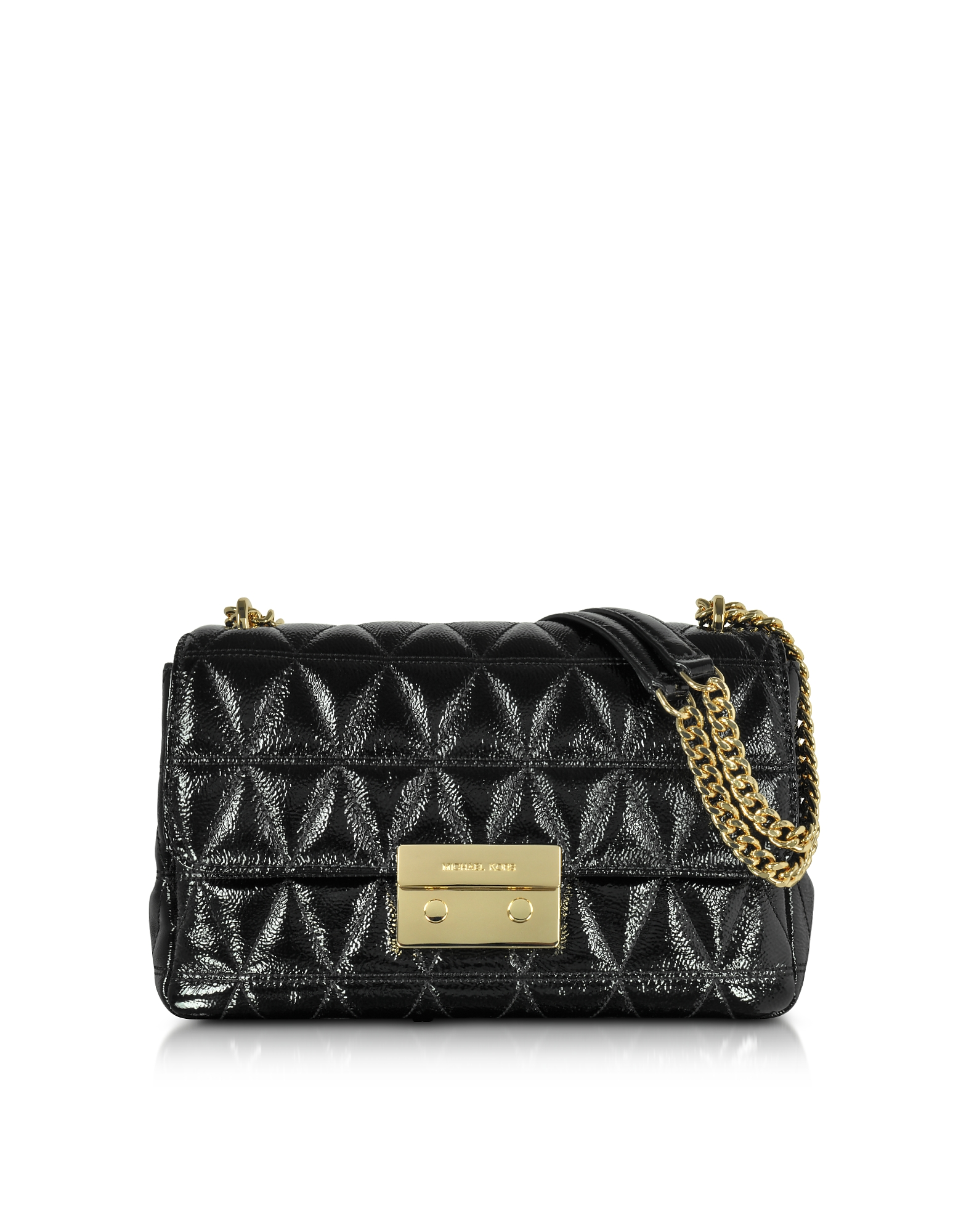 Michael Kors Handbags, Sloan Large Black Quilted Patent Leather Chain Shoulder Bag