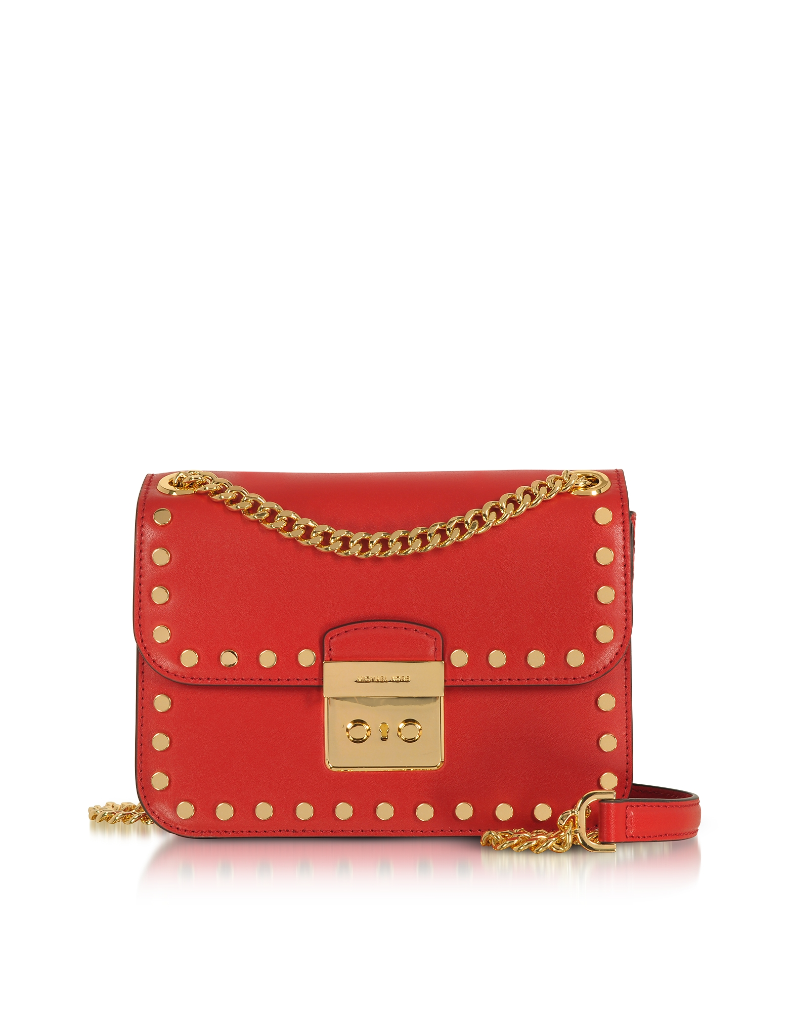 Michael Kors Handbags, Sloan Editor Medium Bright Red Leather Chain Shoulder Bag
