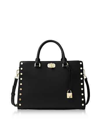 Sylvie Stud Large Black Leather Satchel Bag