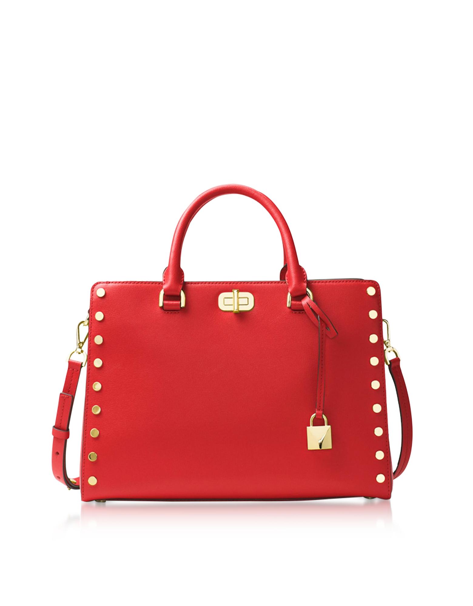 Michael Kors Handbags, Sylvie Stud Large Bright Red Leather Satchel Bag