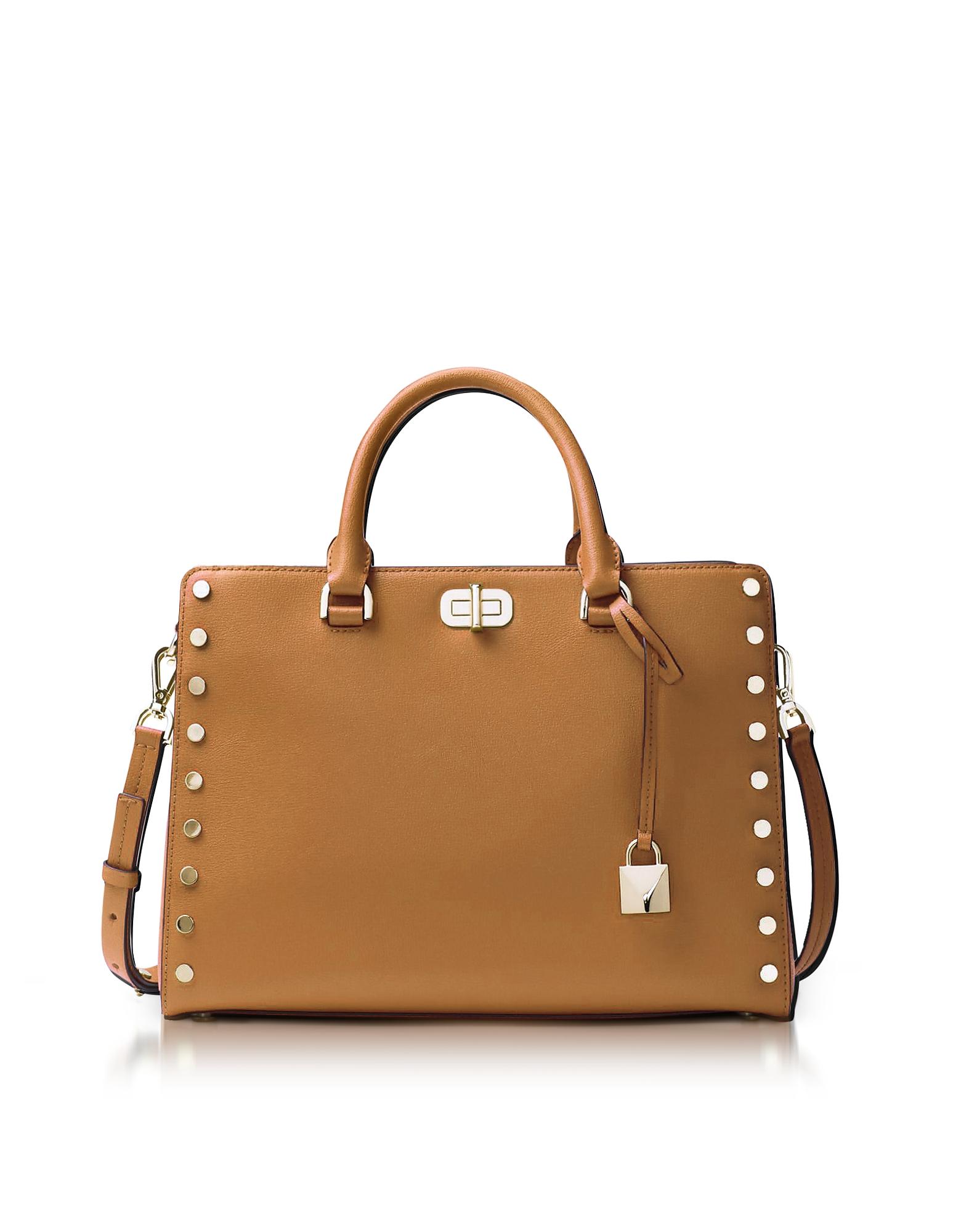 Michael Kors Handbags, Sylvie Stud Large Acorn Leather Satchel Bag