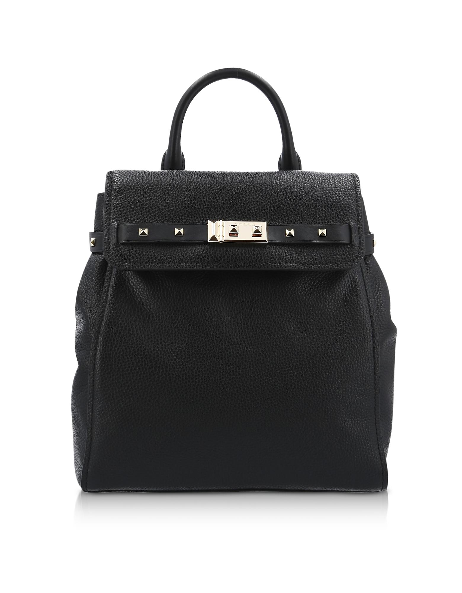 Black Pebbled Leather Addison Backpack