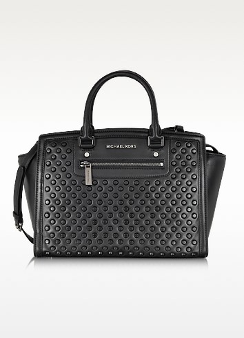 Selma Studded Black Leather Large Satchel - Michael Kors