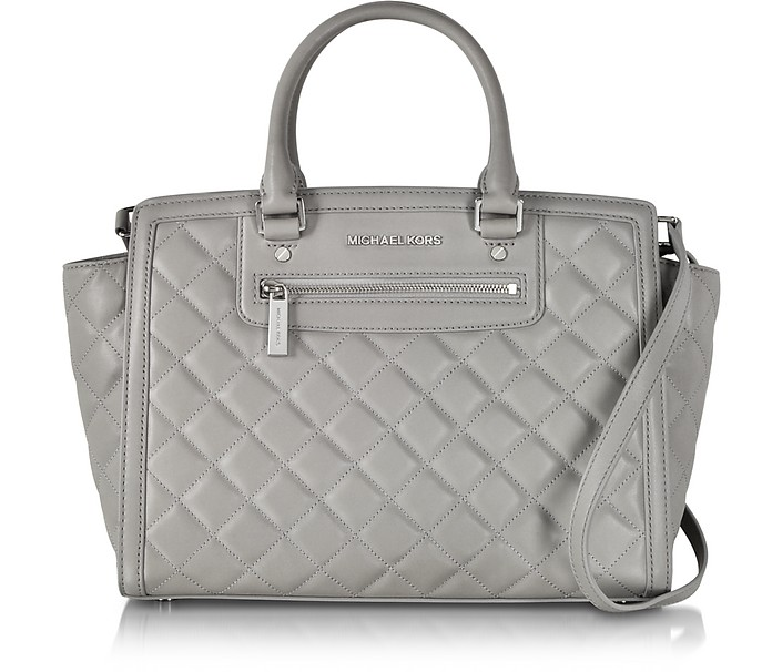 Selma Large Pearl Grey Quilted Leather Satchel - Michael Kors