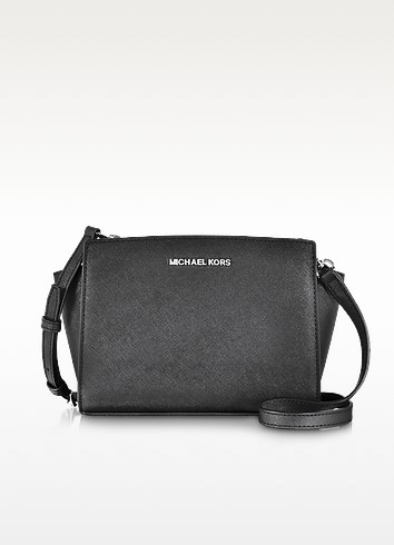 Selma Black Saffiano Leather Medium Messenger Bag - Michael Kors