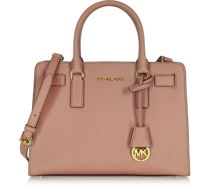 Dillon Dusty Rose Saffiano Leather E/W Satchel - Michael Kors