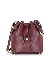 Greenwich Merlot/Black Saffiano Leather Large Bucket Bag - Michael Kors