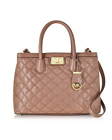 Hannah Large Dusty Rose Quilted Leather Satchel Bag - Michael Kors