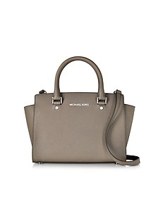 Selma Cinder Saffiano Leather Medium Top Zip Satchel Bag - Michael Kors