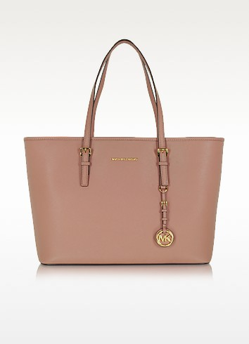 Jet Set Travel Medium Multifunction Dusty Rose Saffiano Tote Bag - Michael Kors