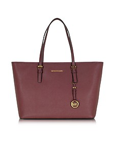 Jet Set Travel Medium Top Zip Funt Merlot Saffiano Leather Tote - Michael Kors