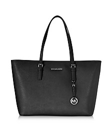 Jet Set Travel Medium Top Zip Funt Black Saffiano Leather Tote - Michael Kors