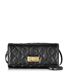 Hannah Black Quilted Leather Clutch w/Shoulder Strap - Michael Kors