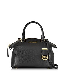 Riley Small Black Pebble Leather Satchel Bag - Michael Kors