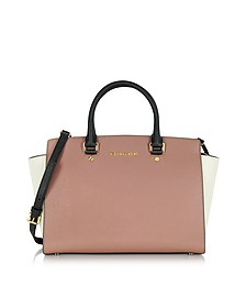 Selma Tricolor Saffiano Leather Large Top-Zip Satchel - Michael Kors