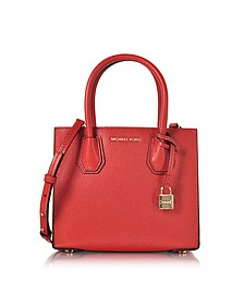 Mercer Medium Bright Red Pebble Leather Crossbody Bag - Michael Kors