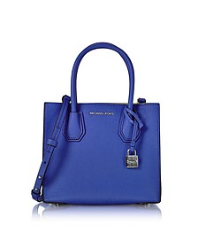 Mercer Medium Electric Blue Pebble Leather Crossbody Bag - Michael Kors