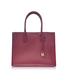 Mercer Large Mulberry Pebble Leather Convertible Tote Bag - Michael Kors