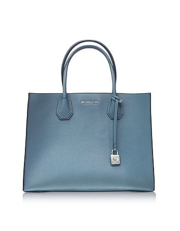Mercer Large Denim Pebble Leather Convertible Tote Bag